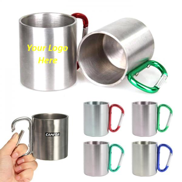 3ac42f7d5a8 003BBNFD 9 oz Double Wall Stainless Steel Cup with Carabiner ...